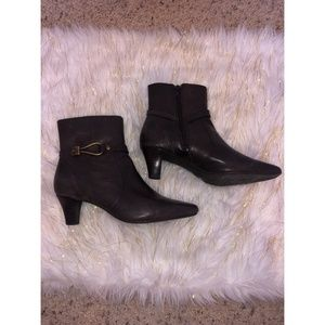 Anne Klein Macadet Chocolate Brown Heeled Booties